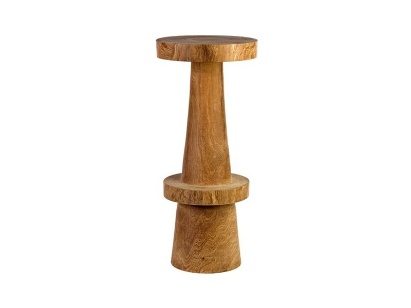 Wooden barstool with footrest SIMPLE - Pols Potten