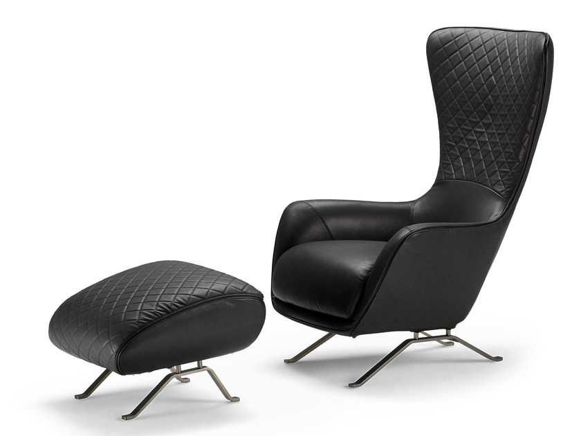 High-back leather armchair SIN SEATY by Arketipo