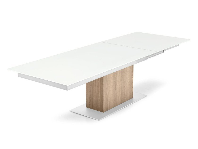 Extending rectangular wood and glass table SINCRO - Calligaris