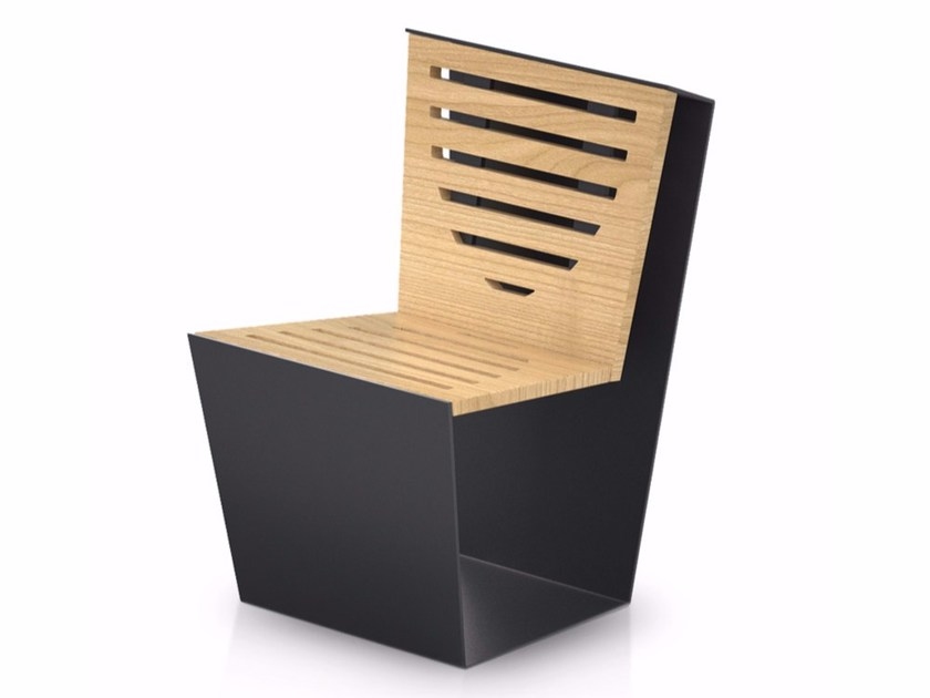 Steel and wood outdoor chair SINGLE WOOD by LAB23