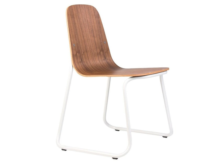 Sled base stackable wooden chair SIREN | Wooden chair - bogaerts label