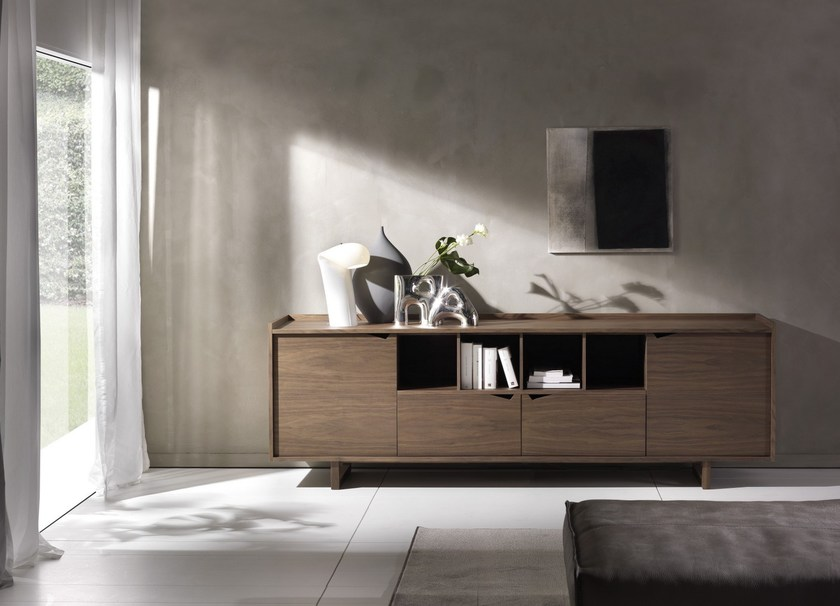 Wood veneer sideboard with doors SISTEMA WING | Sideboard with drawers - Pacini & Cappellini