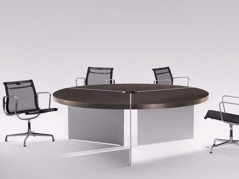 Round meeting table with cable management SIZE | Round meeting table by RENZ
