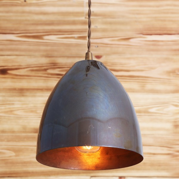 Handmade brass pendant lamp SKYLER CONE PENDANT LIGHT - Mullan Lighting