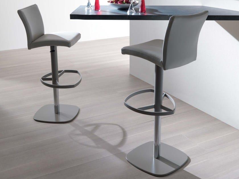 Height-adjustable leather counter stool SLANG - Ozzio Italia