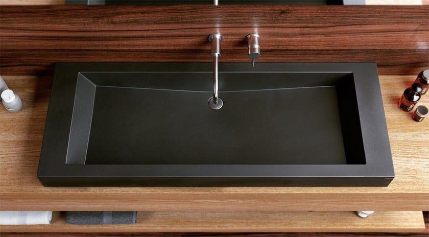 Countertop single concrete washbasin SLANT 05 DOUBLE - Gravelli