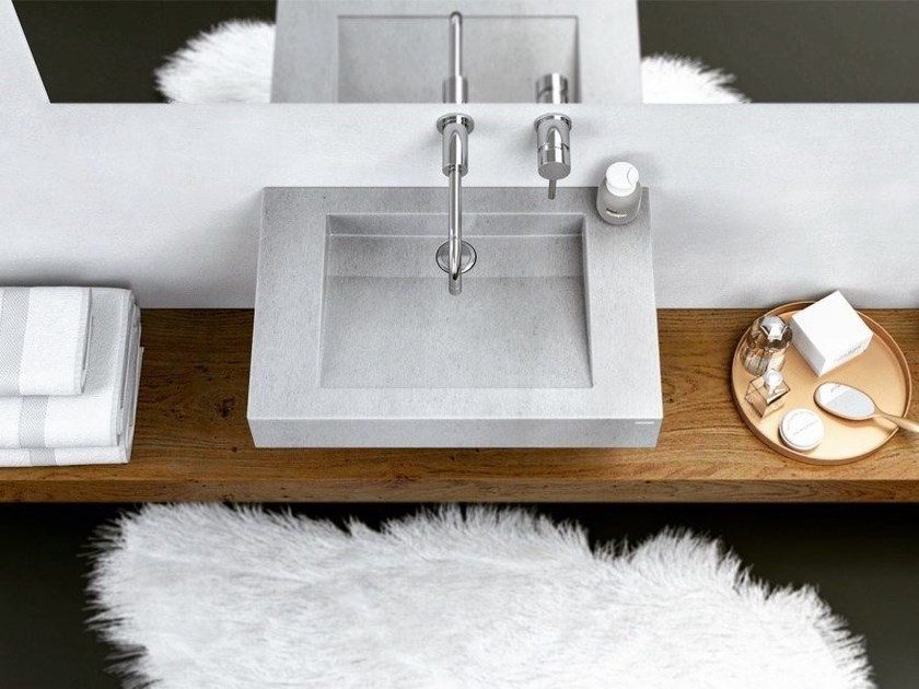 Single wall-mounted concrete washbasin SLANT 07 SINGLE - Gravelli