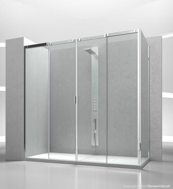 Corner tempered glass shower cabin with sliding door SLIDE V4+VG - VISMARAVETRO