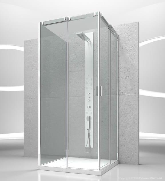 Custom tempered glass shower cabin with sliding door SLIDE VA+VA+VG - VISMARAVETRO