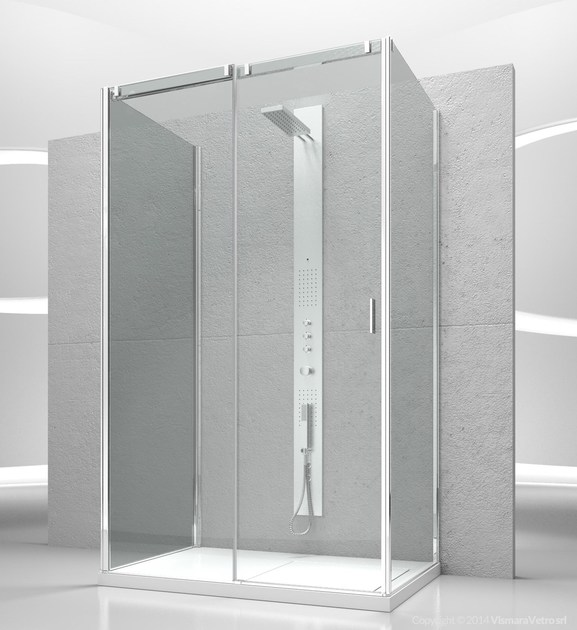 Tempered glass shower cabin with sliding door SLIDE VG+VQ+VF by VISMARAVETRO