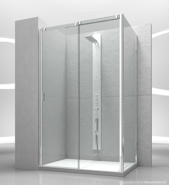 Corner tempered glass shower cabin with sliding door SLIDE VN+VG - VISMARAVETRO