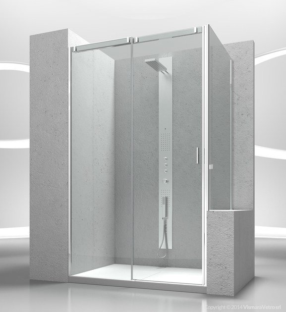 Custom tempered glass shower wall panel SLIDE VN+VP - VISMARAVETRO