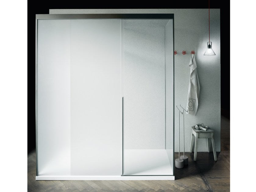 Rectangular glass shower cabin with sliding door SLIDING by Boffi
