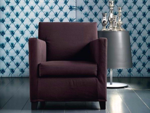 Fabric armchair with removable cover with armrests SMALL by Casamilano