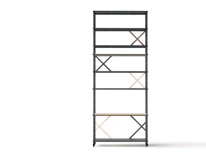 Open double-sided powder coated steel shelving unit SO ODER SO by Nils Holger Moormann