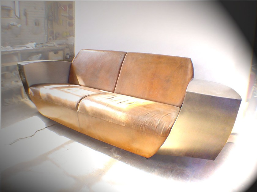 2 seater leather sofa EASY ONE - ICI ET LÀ