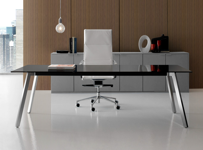 Rectangular glass executive desk SOHO | Glass office desk - Quinti Sedute