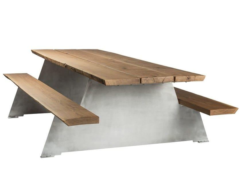 Tavolo da picnic in rovere con panchine integrate SOLID - CASSECROUTE