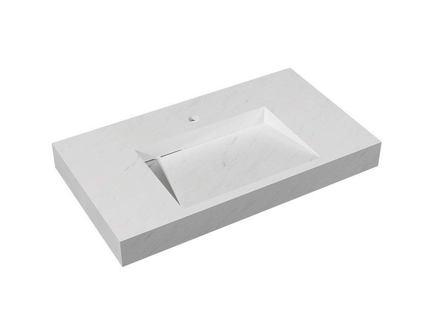 Rectangular wall-mounted natural stone washbasin SOUL HOLLOW - L'Antic Colonial