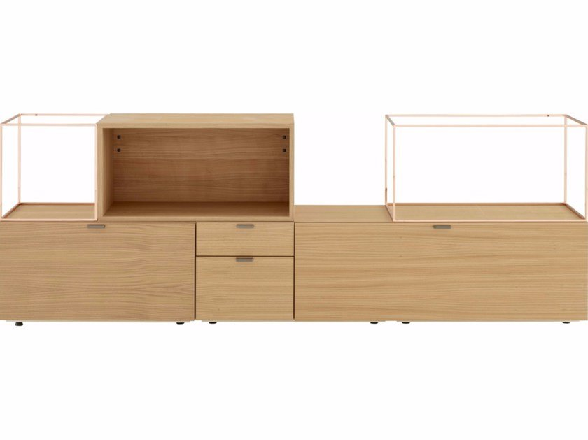 Modular wood veneer sideboard SPACE by Ligne Roset