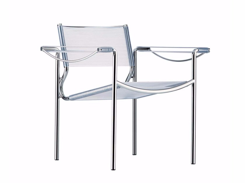 Stackable steel and PVC easy chair with armrests SPAGHETTI ARMCHAIR - 109 by Alias
