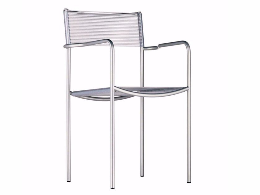 Stackable steel and PVC chair with armrests SPAGHETTI ARMREST - 131 - Alias