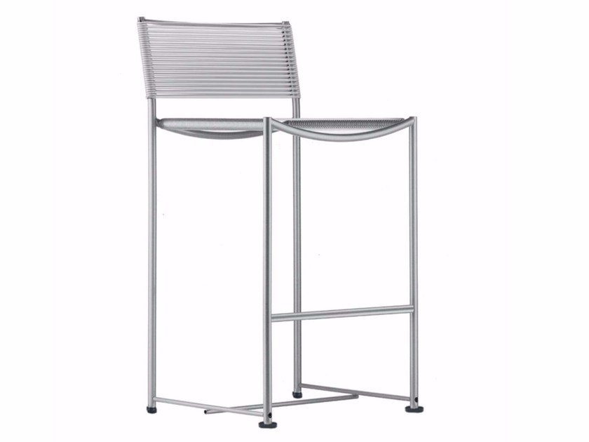 Steel and PVC counter stool with footrest SPAGHETTI STOOL - 164 - Alias