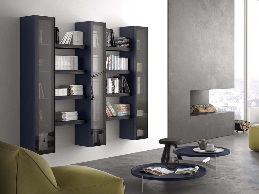 Lacquered floating bookcase SPAZIO S304 - PIANCA