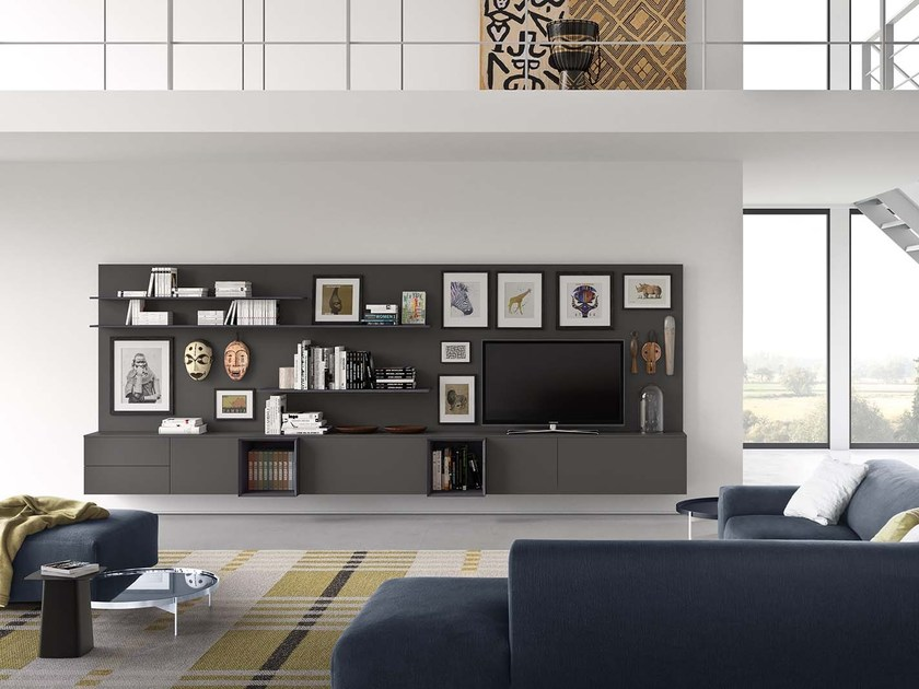 Sectional modular storage wall SPAZIO S313 by PIANCA