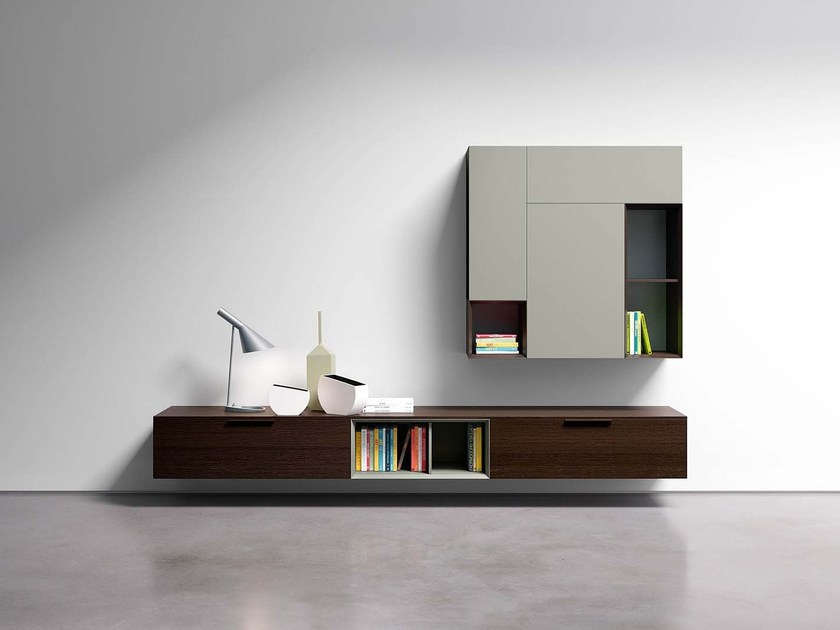 Lacquered storage wall SPAZIO S402 by PIANCA