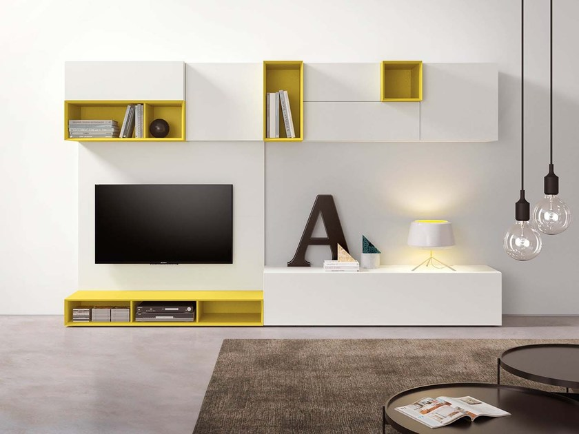 Sectional lacquered modular storage wall SPAZIO S436 - PIANCA