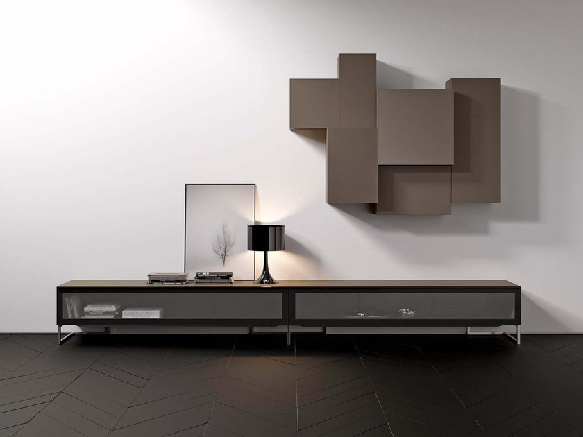Wall-mounted lacquered storage wall SPAZIO S443 - PIANCA