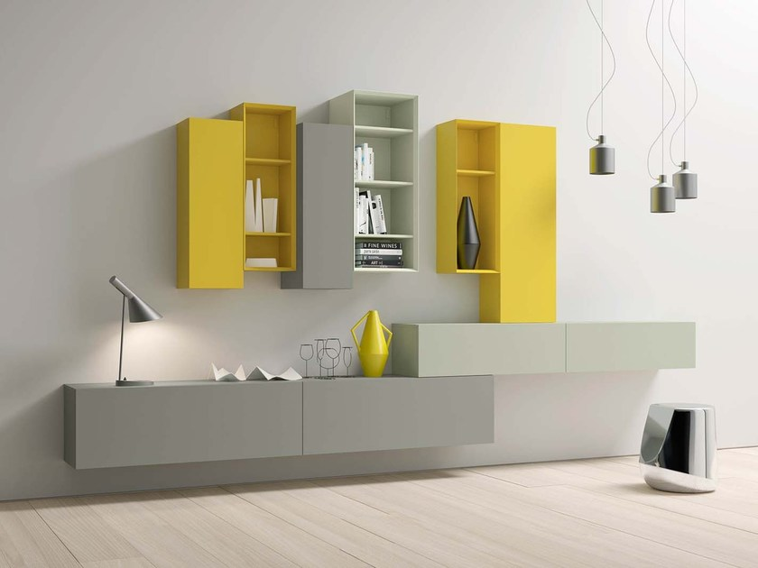 Wall-mounted lacquered storage wall SPAZIO S460 - PIANCA