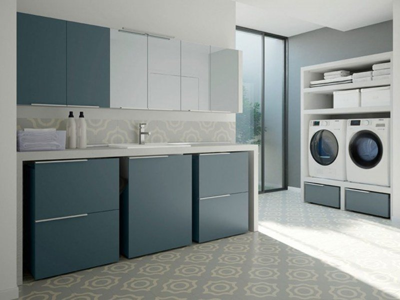 Sectional laundry room cabinet with sink for washing machine SPAZIO TIME 02 | Laundry room cabinet with sink - IdeaGroup