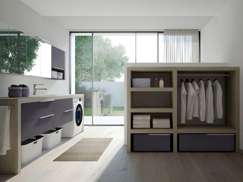 Mobile lavanderia componibile con lavatoio per lavatrice SPAZIO TIME 05 | Mobile lavanderia con lavatoio - IdeaGroup