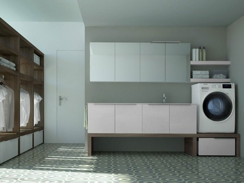 Sectional laundry room cabinet with sink for washing machine SPAZIO TIME 06 | Laundry room cabinet with sink by Idea