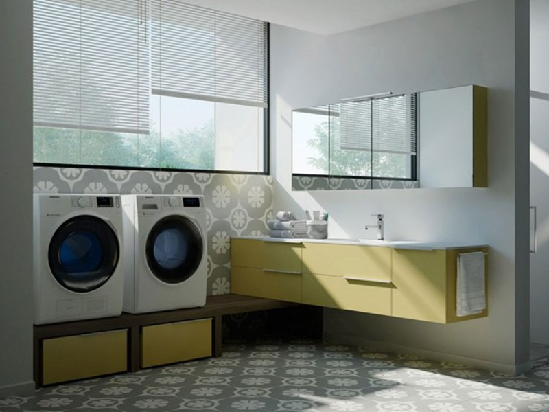 Sectional laundry room cabinet with mirror for washing machine SPAZIO TIME 07 | Laundry room cabinet with sink - IdeaGroup