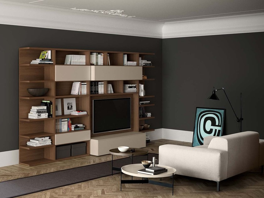Sectional wall-mounted lacquered storage wall SPAZIOTECA | MOD. SP011 - PIANCA
