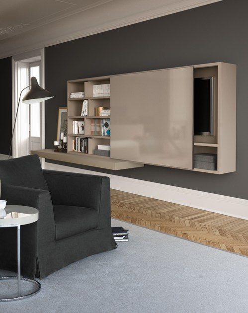 Sectional wall-mounted lacquered storage wall SPAZIOTECA | MOD. SP015 - PIANCA