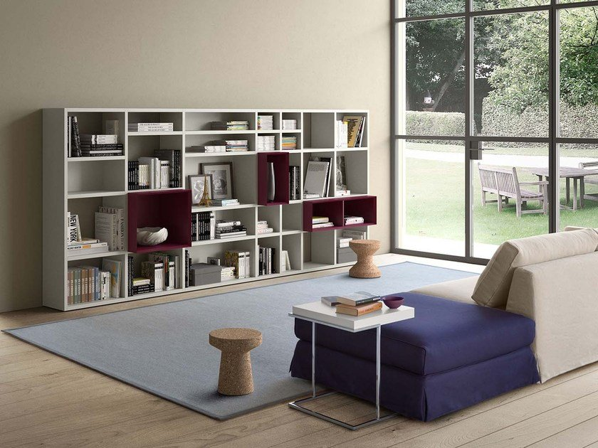 Open lacquered bookcase SPAZIOTECA SP027 by PIANCA