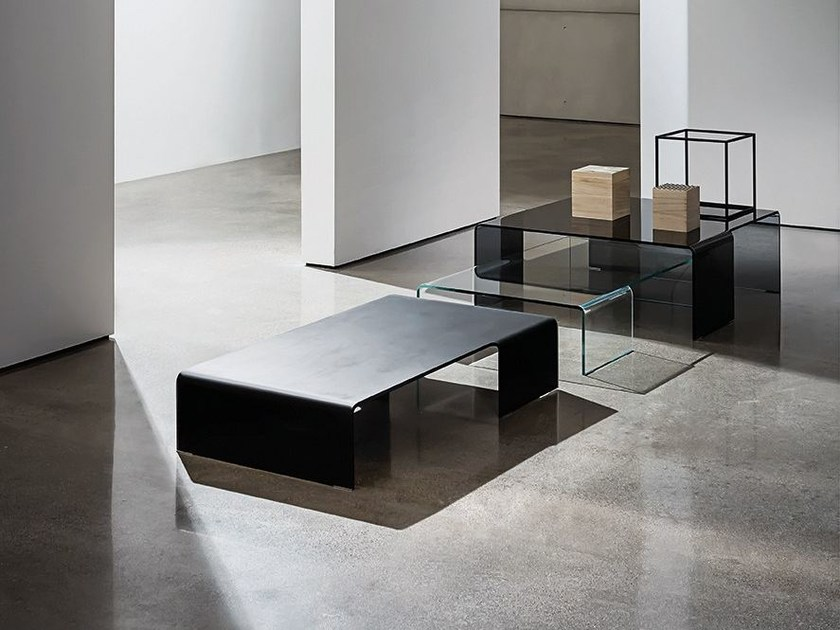 Low glass coffee table SPIDER - SOVET ITALIA