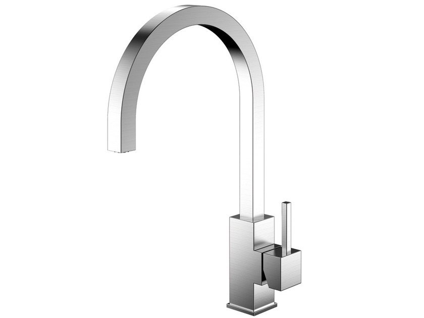 Brushed-finish stainless steel kitchen mixer tap SPIRIT SP-100 - Nivito