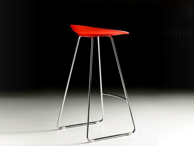 High sled base polyurethane stool with footrest SPOON - D.M.