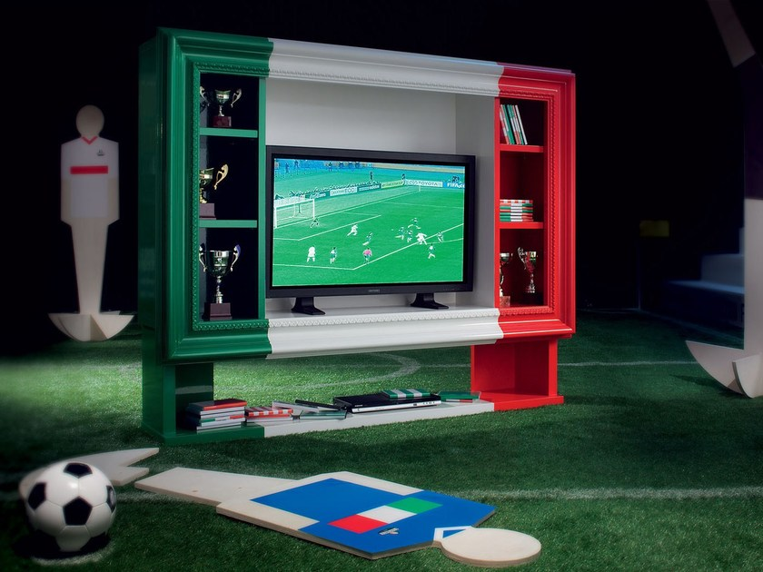 Interior design bookcase and TV-stand in hardwood - Football Collection - Modenese Gastone