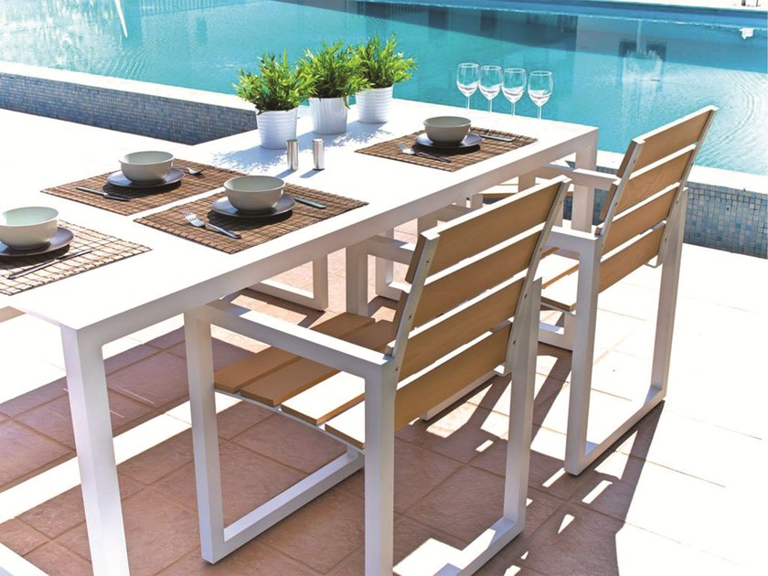 Rectangular Corian® garden table SPRING | Aluminium garden table - Efasma