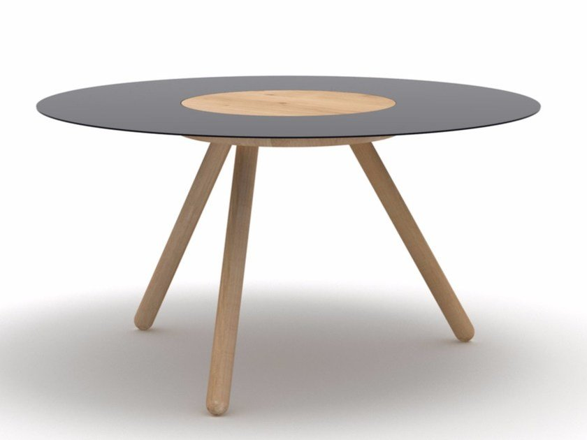 Round wooden and metal coffee table SPUTNIK - Universo Positivo