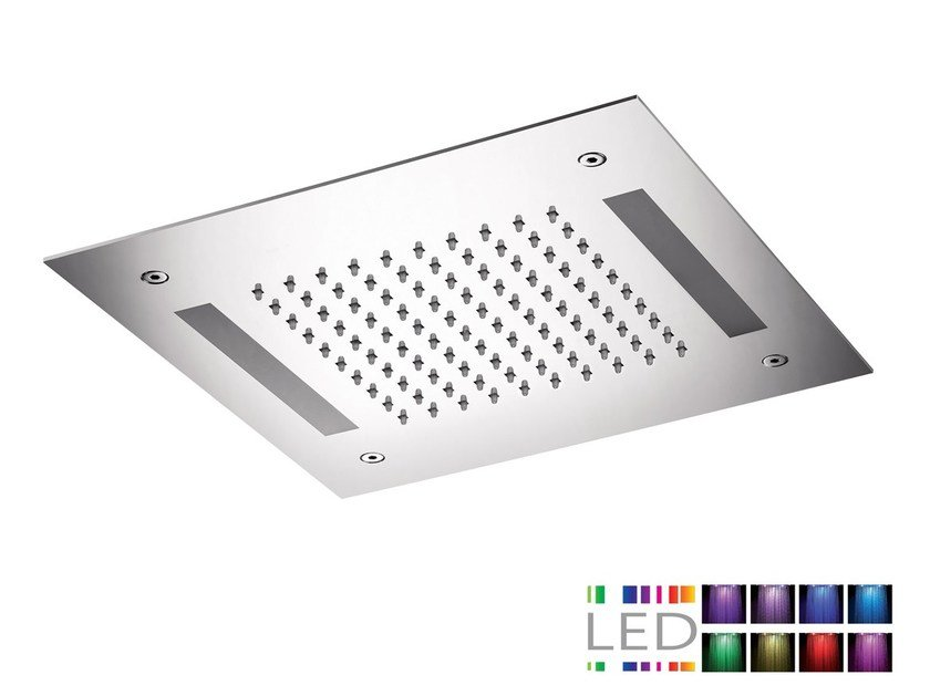 LED built-in stainless steel overhead shower for chromotherapy SQL-08 | Overhead shower for chromotherapy - Rubinetterie Mariani