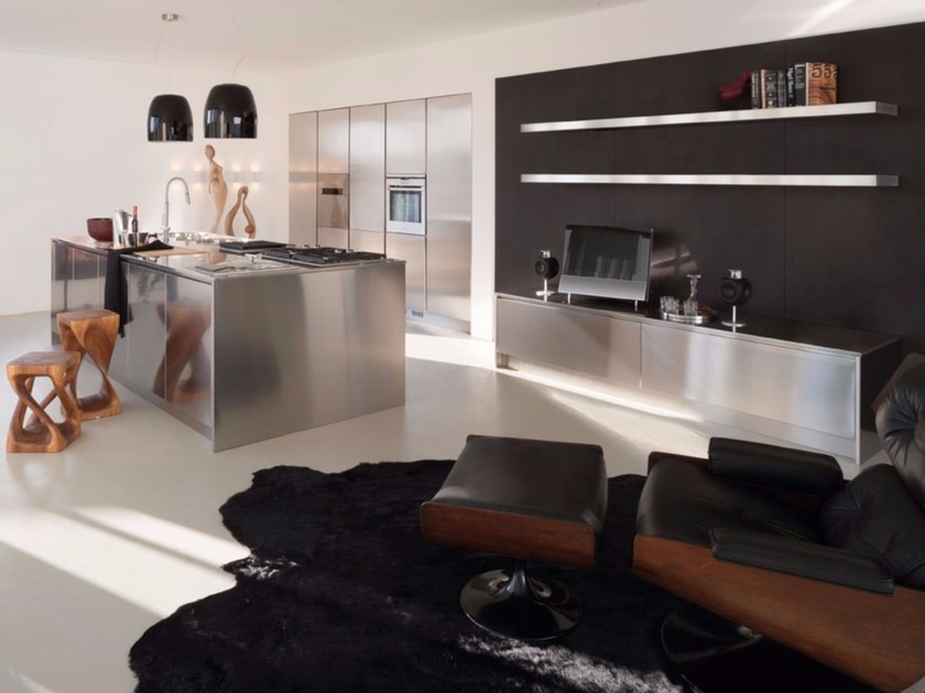 Stainless steel kitchen with island SQUARE INOX SCOTCH-BRITE by Xera by Arex