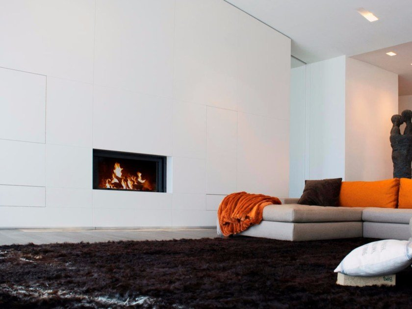 Wood-burning built-in wall-mounted glass and steel fireplace STÛV 21-105 SF - Stûv
