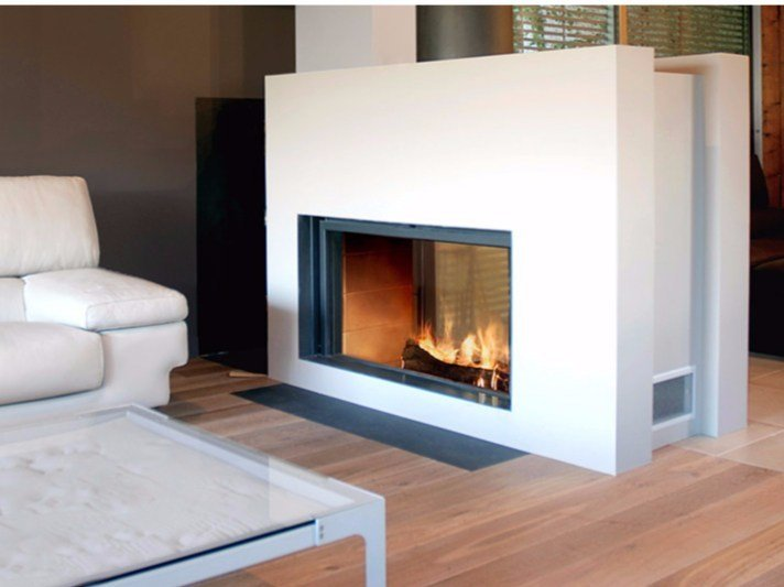 Double-sided wood-burning built-in glass and steel fireplace STÛV 21-125 DF - Stûv